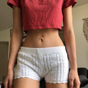 White crochet summer shorts